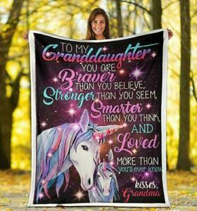 To My Granddaughter with unicorn,Birthday gift Fleece Blanket