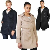 Womens Ladies Trench Coat Stylish Classic Tailored Mac Belted Long Jacket 8-18