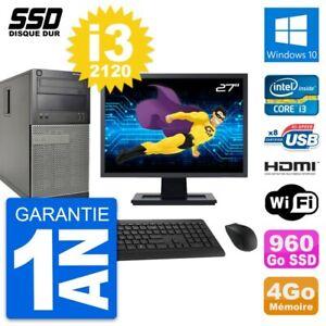 """PC Tour DELL 390 MT Screen 27 """" i3-2120 RAM 4Go SSD 960Go HDMI Windows 10 Wifi"""