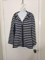Women's Karen Scott Navy Blue Striped Jacket Plus Size 2X