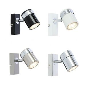 Single Wall Mount or Ceiling GU10 Spotlight Lights Chrome Satin Black or White