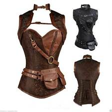 Steampunk Boned Corset Faux Leather Gothic Halloween Top Jacket 6-24 Bolero Punk