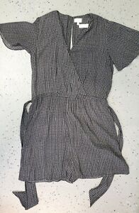 💜 WITCHERY Short Sleeve V-Neck Romper Black White Size 14 Buy7=FreePost L861
