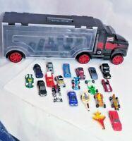 28 car truck carrier roller travel case w handle 20 cars LOT matchbox hot wheels