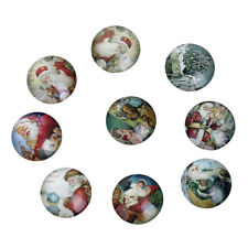 NEW!! 10 CHRISTMAS GORGEOUS FLATBACK CABOCHONS GLASS DOME - FREE P&P