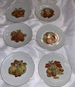 Bareuther Waldsassen 6 Plate set Bavaria Germany HARVEST FRUIT