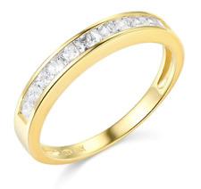 1 Ct Princess Cut Real 14k Yellow Gold Engagement Wedding Anniversary Band Ring