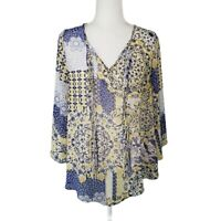 Unity World Wear Floral Tunic Top Women's Size S Blue Yellow Blouse 3/4 Sleeves