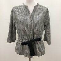 Talbots Women's Jacket Blazer Size 10 Gray Black White Multi-color Lined