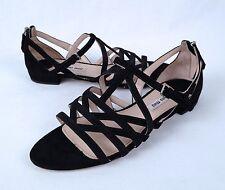 Miu Miu Strappy Flat Sandal- Black Suede- Size 6 US/ 36 EU  $550  (C6)