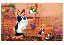Freken-Bok and Karlsson in the kitchen Modern Russian postcard to cartoon movie