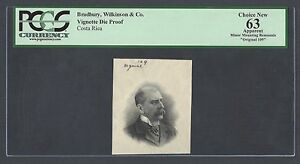 Costa Rica Vignette Die Proof 20 Colones 1909-17 Ps124 Uncirculated