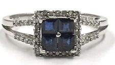 Sterling Silver 925 Square Blue Sapphire & Pave Diamond Halo Split Cocktail Ring