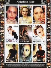 Tajikistan 2001 MNH Angelina Jolie Tombraider 9v M/S Actors Celebrities Stamps