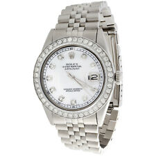 Mens Rolex 36mm DateJust Diamond Watch Jubilee Steel Band White MOP Dial 2 CT.