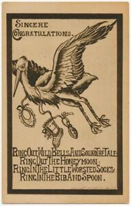 Ring in The Bib and Spoon, Stork Baby Congratulations 1909