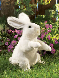 NEW PLUSH SOFT TOY Folkmanis 2868 White Standing Rabbit Full Body Hand Puppet