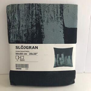 """Ikea Slojgran Gunnel Sahlin Blue Black Throw Pillow Cover 20"""" Abstract Cityscape"""
