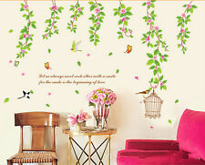Green Vine Flower Leaf Bird Wall Paper Sticker Decal Mural Art Bed Room Decor