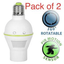 2x E27 Adaptador de titular de la Luz Sensor De Movimiento Pir Infrarrojo Par Lámpara Bombilla Enchufe Reino Unido