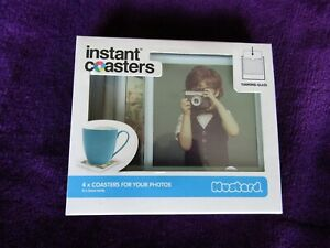 BNIB 4 tempered glass add your own photo coasters