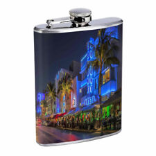 Florida Hot Spots Miami Beach D3 Flask 8oz Stainless Steel Hip Drinking Whiskey