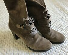 Paul Green Brown Suede High Heel Boot Size US 7 / AU 5.5 Steampunk Style