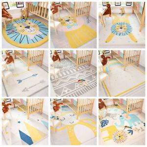 Kids Colourful Bedroom Rugs Animal Print Playmats Scandi Boys Girls Nursery Mats