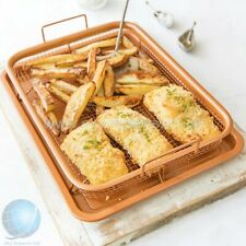 Non-Stick Copper Oven Baking Tray 2-in-1 with Elevated Mesh Grill Basket.
