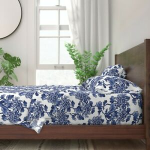 Floral Blue Peonies Spring Kitchen 100% Cotton Sateen Sheet Set by Roostery