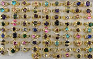 Wholesale Lots 40pcs Rhinestone Ring Gold P Mixed Charm Simulated CZ Women Rings