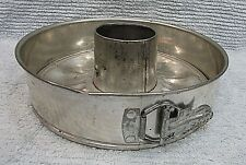Old 1940's spring form buckle side tin bundt cake pan w removable bottom FREE SH