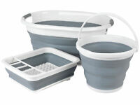 30 Litre Grey//White Kleeneze KL065438GRYEU Collapsible Cleaning Bucket