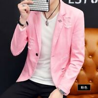 Mens Slim Fit Lapel Collar Jackets One Button Solid Korean Blazers Hole Ripped