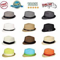 Men Women Unisex Fedora Hat Trilby Cuban Style Upturn Short Brim Cap Summer Hat
