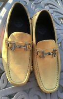 Amali Yellow Slip Ons Silver Horse-bit Loafers Sz 12 Lightly Worn Microfiber