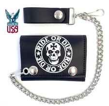 RIDE OR DIE SKULL LEATHER CHAIN WALLET * MADE IN USA * TRUCKER BIKER MOTORCYCLE