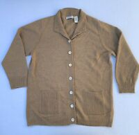 Orvis Cardigan Sweater Womens Medium Brown 100% Cashmere Button Front