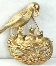 VINTAGE 1960'S 14K GOLD DIAMOND RUBY EMERALD SAPPHIRE BIRD NEST PIN 20 GRAMS