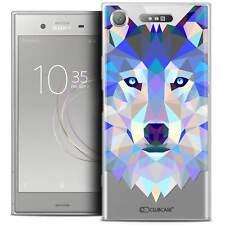 """Coque Housse Etui Pour Sony Xperia XZ1 (5.2"""") Polygon Animal Souple Fin Loup"""