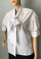 H & M Womens Short Sleeve Tie Neck Blouse Uk Size 10 EU 38 White Gold BNWoT