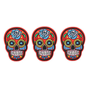 Skull Skeleton Embroidered Patch Iron/Sew On Applique for Clothes Art Badge 3pc