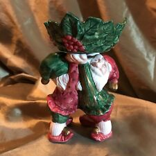 "Fitz Floyd Old World Christmas Elf Elves Candleholder 5 1/4"" Tall"