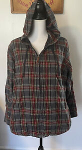 LL Bean Scotch Plaid Flannel Zip Up Hoodie Jacket Relaxed Fit Womens Size XL