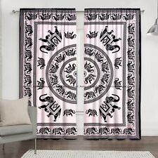 Elephant Mandala Curtains Indian Cotton Window Drapes Door Hanging Balcony Set