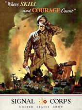 Skill & Courage - Signal Corps US Army - 1942 - World War II - Propaganda Poster