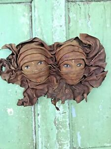 ARABIAN NIGHTS ARAB Genuine Leather Faces Old 3D Decorative Wall Mask Hanging