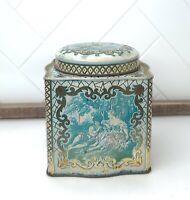 Beautiful Vintage Daher Biscuit Tin Blue Floral Square English Couple