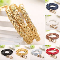 Fashion Womens Mens Braided Belts Slender Belt Metal Buckle Waisted Rope Strap