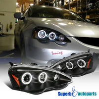 For 2002-2004 Acura RSX LED Halo Projector Headlights Black Replacement Pair